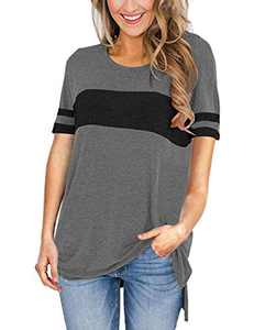 AMCLOS Womens Tops Color Block Shirt Round Neck Side Split High Low Tunic Short Sleeve (C-Gray,M)