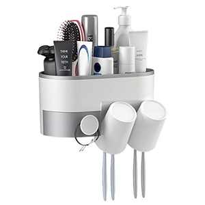 BUILDEC Toothpaste Holder Wall Mounrage Organizer Wall Mount No Drilling Electric Toothbrushes Slots Multifunctional Organizer and Drawer with PHT Adhesive Bathroom Stoone Holder (2 Cups)
