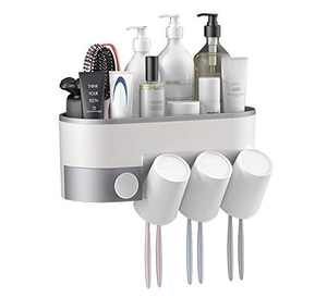 BUILDEC Toothpaste Holder Wall Mount Adhesive Bathroom Shelf Storage Organizer Wall Mount No Drilling Electric Toothbrushes Slots, Multifunctional Organizer and Drawer with Phone Holder (3 Cups)
