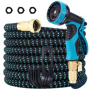 LOOHUU Garden Hose 25 Ft Expandable Kit,Water Hose with Superior Strength 3750D/10 Function Spray Nozzle/Resistant 3-Layers Latex, Solid Brass Fittings
