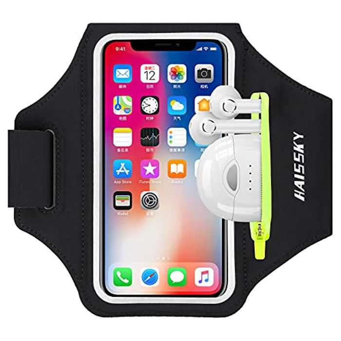 """HAISSKY Running Armband with Earbuds Bag Sports Phone Armband for iPhone 12/12 Pro/11/11 Pro/XS/XR/X/8 Plus Sports Phone Holder Case with Touch Sensitive and Zipper Slot for Phones up to 6.5"""""""
