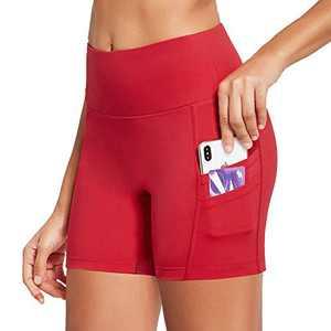 "BALEAF Women's 5"" Workout Spandes Biker Shorts High Waist Compression Yoga Shorts 4 Pockets Volleyball Athletic Running Shorts Rose Red Size XL"