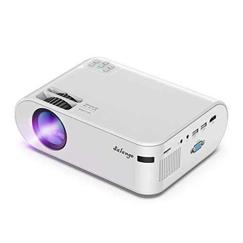 Projector,Salange 2021 Upgraded Mini Portable Movie Projectors with 4500 LUX,55,000 Hours,1080P Support, Hi-Fi Stereo, Compatible with TV Stick,Laptop,HDMI for Outdoor/Home