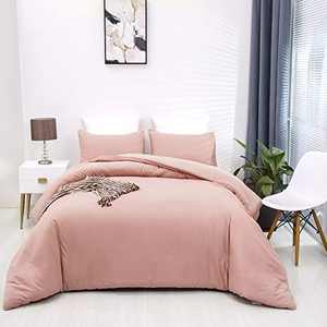 Wellboo Pink Comforter Sets Women Girls Blush Pink Beddings Queen Dusty Pink Adult Comoforters Solid Color Beddings Full Bean Red Comforters Girls Light Color Dorm Quilt Light Red Durable Soft Health