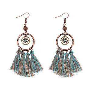 Lenias Bohemian National Style Earring for Women Girls Ethnic Hollow Round Triangle Shaped Dreamcatcher Bird Tassel Vintage Statement Earrings Boho Drop Dangle Ear rings