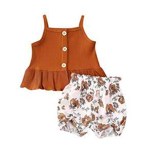 Newborn Baby Girls Button Sleeveless Crop Tops + Shorts Pants Tutu Skirt Outfits 2pcs Clothes Set (A-2, 2-3 Years)