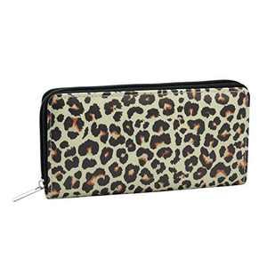 CHIC DIARY Women Snakeskin Wallet Clutch Leopard Leather Long Zip Around Purse Card Holder