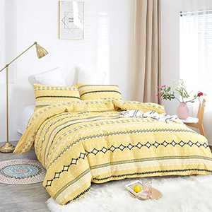 Wellboo Yellow Duvet Cover Yellow Striped Bedding Cover Sets Cotton Queen Full Black and Yellow Geometric Abstract Quilt Cover Prismatic Triangle Women Girl Bedding Cover Lines Teens Bedding Soft