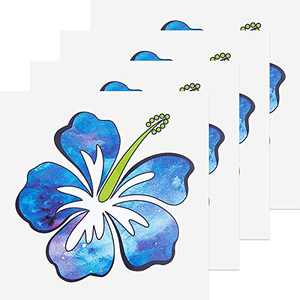 4 Pieces Hibiscus Flower Sticker Hawaiian Vinyl Decal Sticker Car Truck Window Laptop Hibiscus Sticker