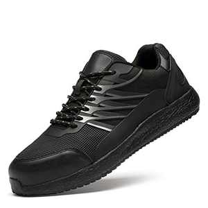 BAOLUMA Men's Safety Shoes Steel Toe Work Industrial & Construction Shoes Black Size 8.0