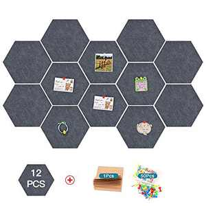12 Pcs Thickened Felt Hexagon Tile Board,Memo Board,Kids Cork Board,with Adhesive on Back Hexagon Bulletin Board,Pin Board-for Office,Home,Bedroom and Shop(7.9×6.8'')+Notepad+50 pcs Pin