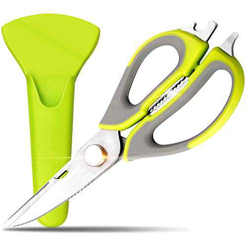Gnker Kitchen Shears with Blade Cover Heavy Duty Dishwasher Safe Ultra Sharp Multi-function Kitchen Scissors for Chicken/Poultry/Fish/Meat/Vegetables