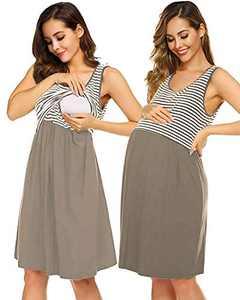 SUNNYME Nursing Nightgown Sleeveless Striped Maternity Dress Labor Delivery Hospital Gown Soft Pajama Dress Sleepwear Khaki X-Large