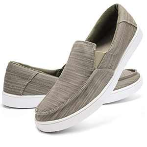 ALEADER Mens Slip On Shoes Casual Canvas Sneakers Summer Loafers Khaki 12 M US