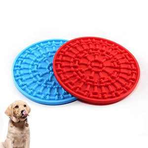 COPACHI Dog Lick Pad, Slow Treat Feeder Mat with Super Suctions, Dog Washing Distraction Device, Dog Lick Mat for Pet Bathing, Grooming, and Training, Just Spread Peanut Butter(Red + Blue)