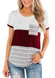 ZC&GF Women's Round Neck Color Block Stripe T-Shirt Pocket Tops Blouses (X-Large, Red Wine)
