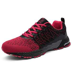 KUBUA Mens Running Shoes Womens Walking Gym Training Shoes Fitness Jogging Athletic Casual Footwear Sneaker Red
