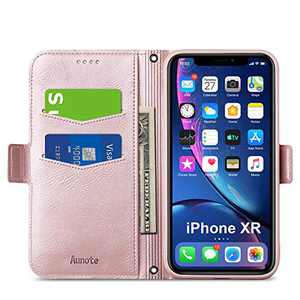 Aunote iPhone XR Wallet Case, iPhone XR Flip Case with Card Slot, Magnetic Closure and Kickstand, Soft TPU+Slim PU Leather Folio Phone Cover Full Protection for Apple iPhone XR/10R. Rose Gold