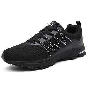 KUBUA Mens Running Shoes Womens Walking Gym Training Shoes Fitness Jogging Athletic Casual Footwear Sneaker Black