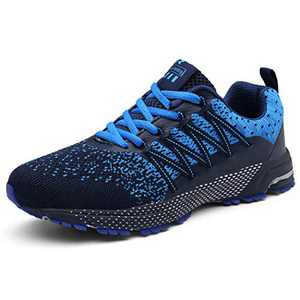 KUBUA Mens Running Shoes Womens Walking Gym Training Shoes Fitness Jogging Athletic Casual Footwear Sneaker Blue