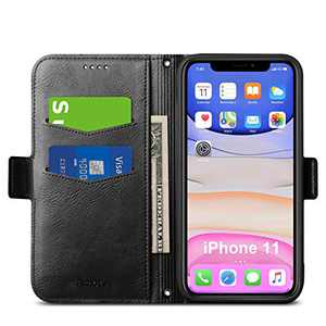 Aunote iPhone 11 Case, iPhone 11 4G Phone Case, Slim Flip/Folio Cover – Wallet Style: Made of PU Leather Shell (Lightweight, Feels Good) and TPU Inner - Full Protection. Black