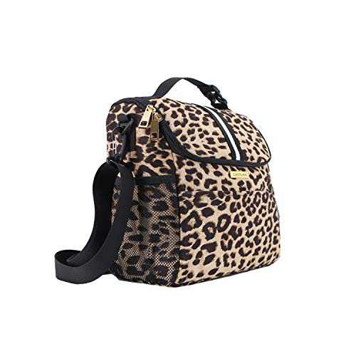 Women Insulated Lunch Bag,Large Lunch Tote Bag with Detachable Shoulder Strap and Buckle Handle Leopard