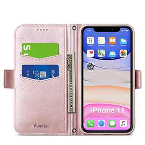Aunote iPhone 11 Case Wallet, iPhone 11 Flip Case with Card Holder, Magnetic Clip, Kickstand, Soft TPU+ PU Leather Folio Phone Cover Full Protection, Ultra Slim Case for iPhone 11 6.1 Inch. Rose Gold