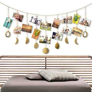 Retr Moon Decor Moon Phase Wall Hanging Photo Display Wood Moon Garland Chains Picture Frame Collage with 20 Wood Clips Wall Art Decoration for Home Office Nursery Room Dorm Living Room Bedroom (Gold)