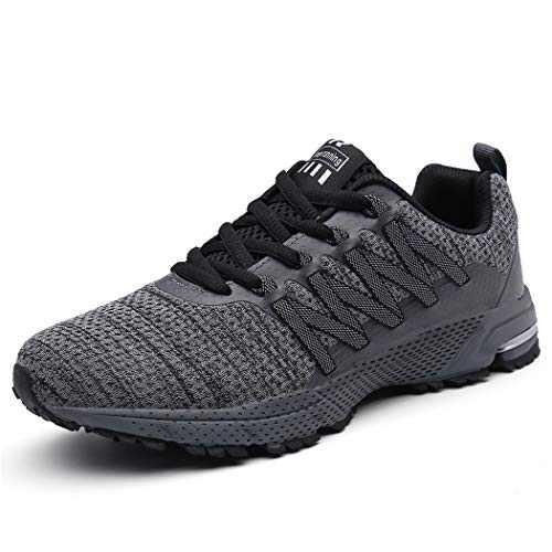KUBUA Mens Running Shoes Womens Walking Gym Training Shoes Fitness Jogging Athletic Casual Footwear Sneaker Grey