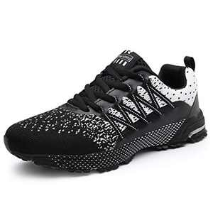 KUBUA Mens Running Shoes Womens Walking Gym Training Shoes Fitness Jogging Athletic Casual Footwear Sneaker White/Black