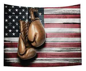 Boxing Gloves Tapestry American Flag Old Rustic Wooden Panels Wall Hanging for Living Room Bedroom Dorm Patriotic Art Wall Blanket 51x59 Inches