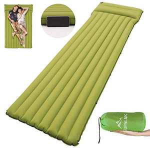 SUPALAK Sleeping Pad for Camping, Built-in Pump Inflatable Camping Mat Ultralight for Backpacking with Pillow for Traveling, Hiking, Durable Waterproof Compact (Light Green)