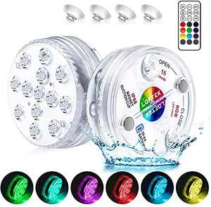 """LOFTEK Submersible LED Lights with Remote RF(164ft),Full Waterproof Pool Lights for Inground Pool with Magnets, Suction Cups,3.35"""" Color Changing Underwater Lights for Ponds Battery Operated (2 Packs)"""