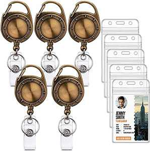 Ktrio 5 Pack Badge Holders with Badge Reels Retractable, Clear Plastic ID Card Badge Holder ID Badge Reel, ID Holders for Badges Work Badge Holder Name Tag Holders for Nurse, Office & Lanyard, Brown