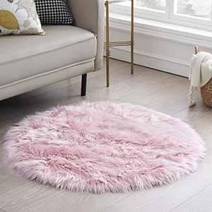 CIICOOL Soft Faux Sheepskin Fur Area Rugs Fluffy Rugs for Bedroom Silky Fuzzy Carpet, Furry Rug for Living Room Girls Rooms, Pink Round 3 x 3 Feet