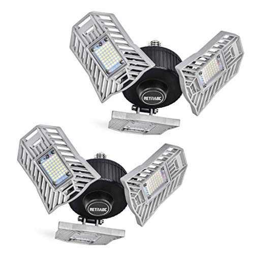 Garage Lights Deformable 2 Pack - Three Leaf Garage Light 60W 6000LM 6000K for Garage (No Motion Activated), Silver, Retinabc