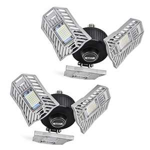 Garage Lights Deformable 2 Pack - Three Leaf Garage Light 60W 6000LM 6000K for Garage (No Motion Activated), Silver, Retinabc