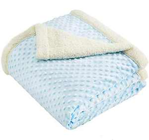 CHEE RAY Super Soft Minky Dot Blanket 60 x 50 in, Throw Blanket with Double Plush Sherpa Fleece Layer for Boys and Girls, Blue