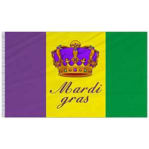 MEWTOGO 3 × 5 Feet Mardi Gras Flag- 3' × 5' Green Yellow and Purple Vertical Stripes Polyester Mardi Gras Flag with Crown Design in The Middle for Outdoor Parades Happy Carnival Decoration (Style 2)