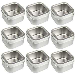 LJY Empty 4-Ounce Square Silver Metal Tins with Clear Window for Candle Making, Candies, Gifts & Treasures (9 Pack)