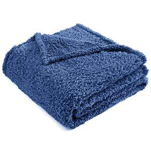 Sherpa Fleece Blanket, Exceptional Blanket as Pet Bed Cover for Small or Medium Dogs and Cats, Blue, 40 X 30 Inches