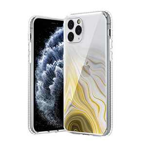 TILON Stylish iPhone Case Designed for Apple iPhone 11 Pro Max(2019) 6.5 Inch Anti-Scratch All Around Shock Absorption Protection Bumper Cover-Gloden-Yellow Marble Tint