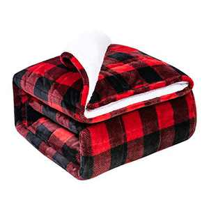 BUZIO Sherpa Fleece Weighted Blanket for Adult, 15 lbs Thick Fuzzy Bed Blanket with Soft Plush Flannel, Dual Sided Cozy Fluffy Blanket, 48 x 72 inches, Tartan Red