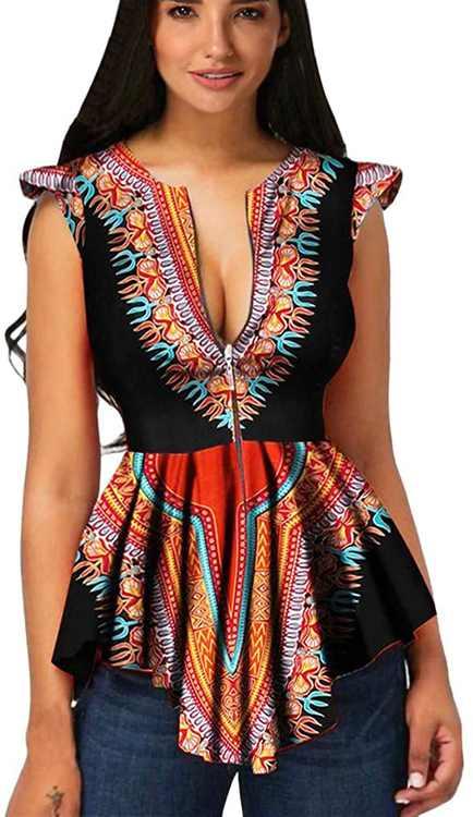 KPILP Women Summer Zipper African PrinSleeveless Tunic T Shirt Fashion Tops Slim EleBlouse