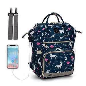 Diaper Bag Backpack, LEQUEEN Unicorn Multifunction Travel Back Pack Maternity Baby Changing Bags (Blue)