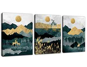 """Abstract Wall Art Forest Mountain Canvas Wall Art for Bathroom Bedroom Nordic Style Modern Canvas Artwork Deer Giraffe Sunset Sunrise Canvas Pictures Daytime Framed Ready to Hang 12"""" x 16"""" x 3 Pieces"""