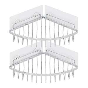 WANJINLI Corner Shower Caddy Bathroom Shelf, No Drilling Adhesive Wall Mounted Shower Storage Organizer Rack, SUS304 Stainless Steel for Toilet, Dorm and Kitchen, 2-Pack