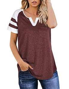 Aokosor Pullover Tunic Tops Shirts for Women Short Sleeve Casual Blouse with Pocket for Work Brickred M