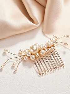 AW BRIDAL Wedding Hair Comb Clip Pearl Bridal Hair Pieces Wedding Hair Accessories Wedding Headpiece for Bride (Gold)