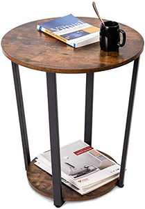 GOOD & GRACIOUS Side Table, 2 Tier Industrial End Table, Vintage Nightstand with Storage Rack, Rustic Beside Table for Living Room & Bedroom, Easy Assembly End Table with Sturdy Metal Frame, Round
